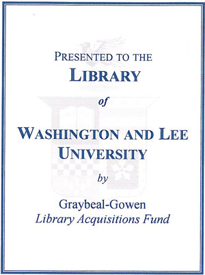The Graybeal-Gowen Library Acquisitions Memorial Fund Bookplate