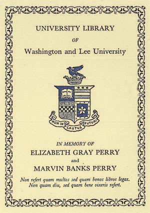 The Elizabeth Gray and Marvin Banks Perry Memorial Fund Bookplate
