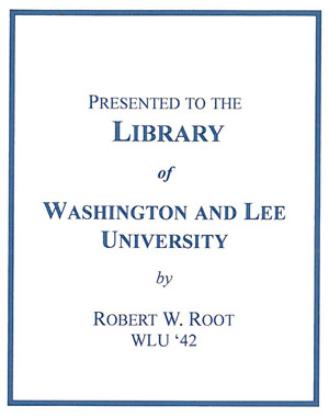 The Robert W. Root Endowment Fund Bookplate