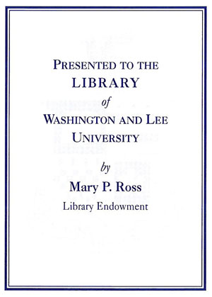 The Mary P. Ross Library Endowment Bookplate