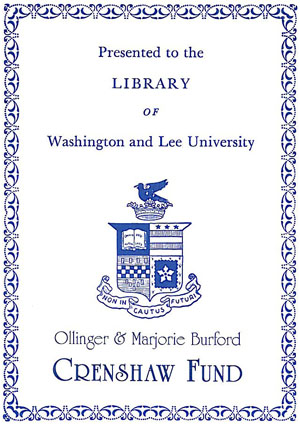 The Ollinger and Marjorie Burford Crenshaw Endowment Bookplate