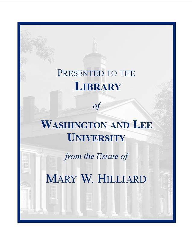 Mary Willson Hilliard Fund Bookplate