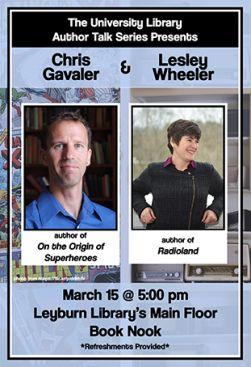Flyer for Chris Gavaler & Lesley Wheeler Author Talk