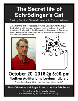 Flyer for Tom Williams Author Talk