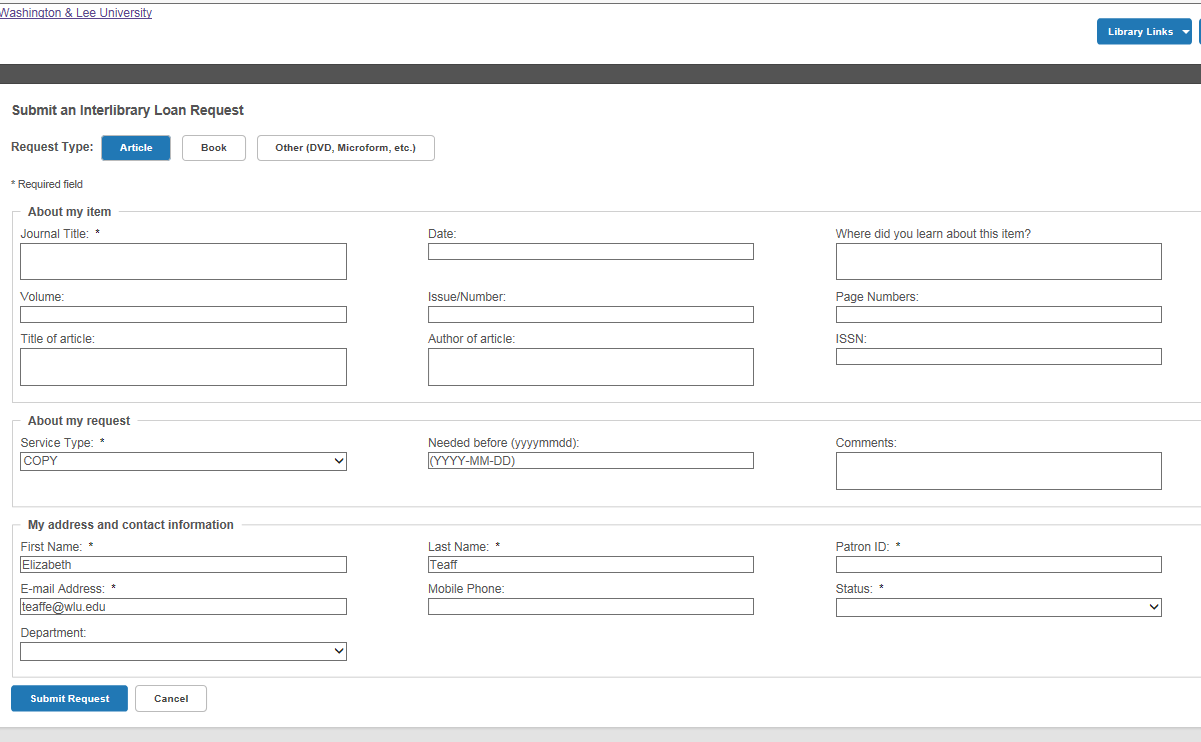New ILL Request Form