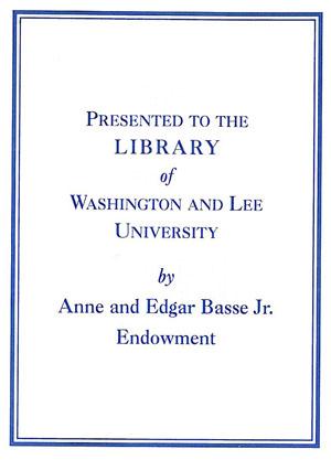 Anne and Edgar Basse Jr. Endowment Bookplate