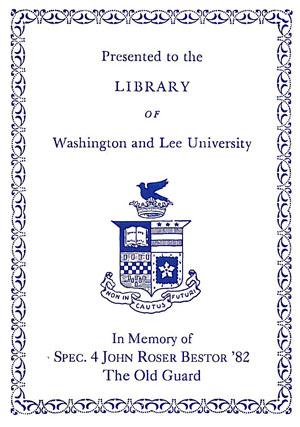 The John Roser Bestor '82 Memorial Fund Bookplate