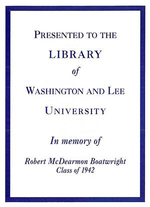 The Boatwright Memorial Fund Bookplate