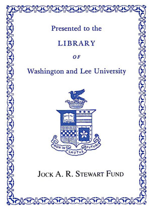Jock A. R. Stewart'39 Memorial Fund Bookplate