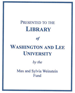Max and Sylvia Weinstein Memorial Fund Bookplate
